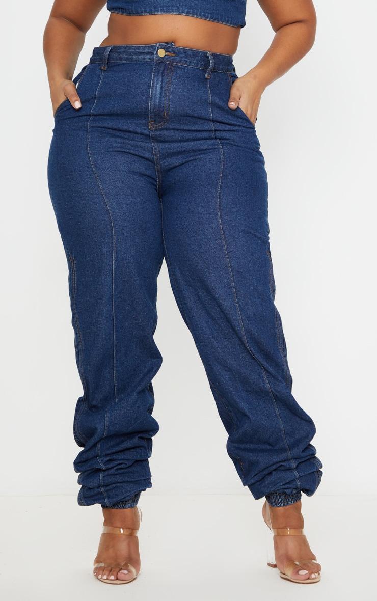 Plus Mid Wash Denim Elasticated Hem Jeans 2