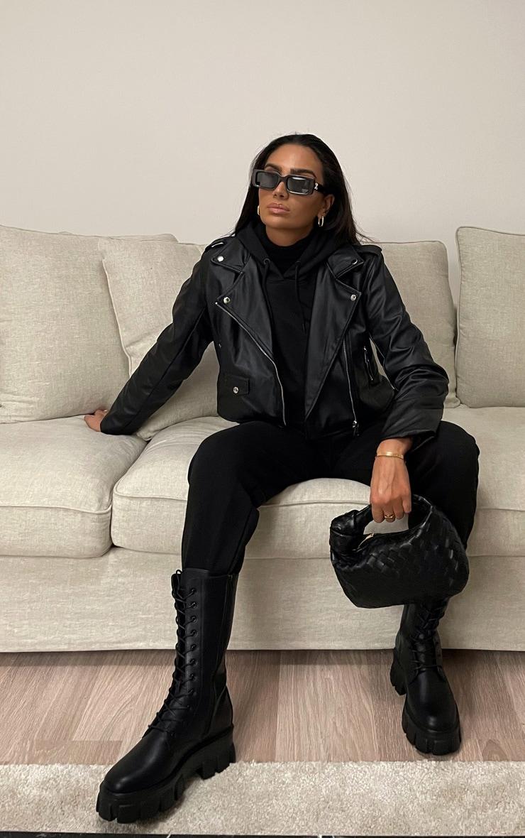 Black PU Biker Jacket With Zips  3