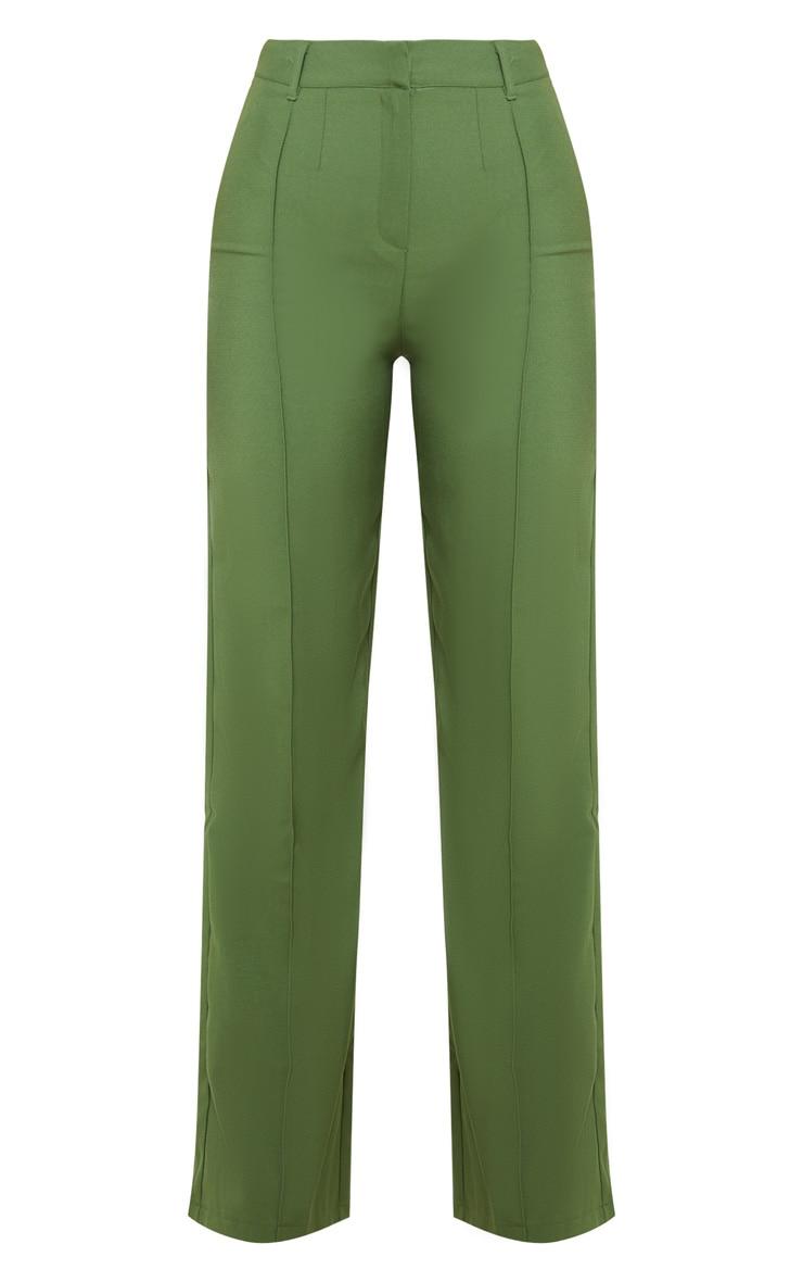 Khaki Anala High Waisted Straight Leg Pants 3