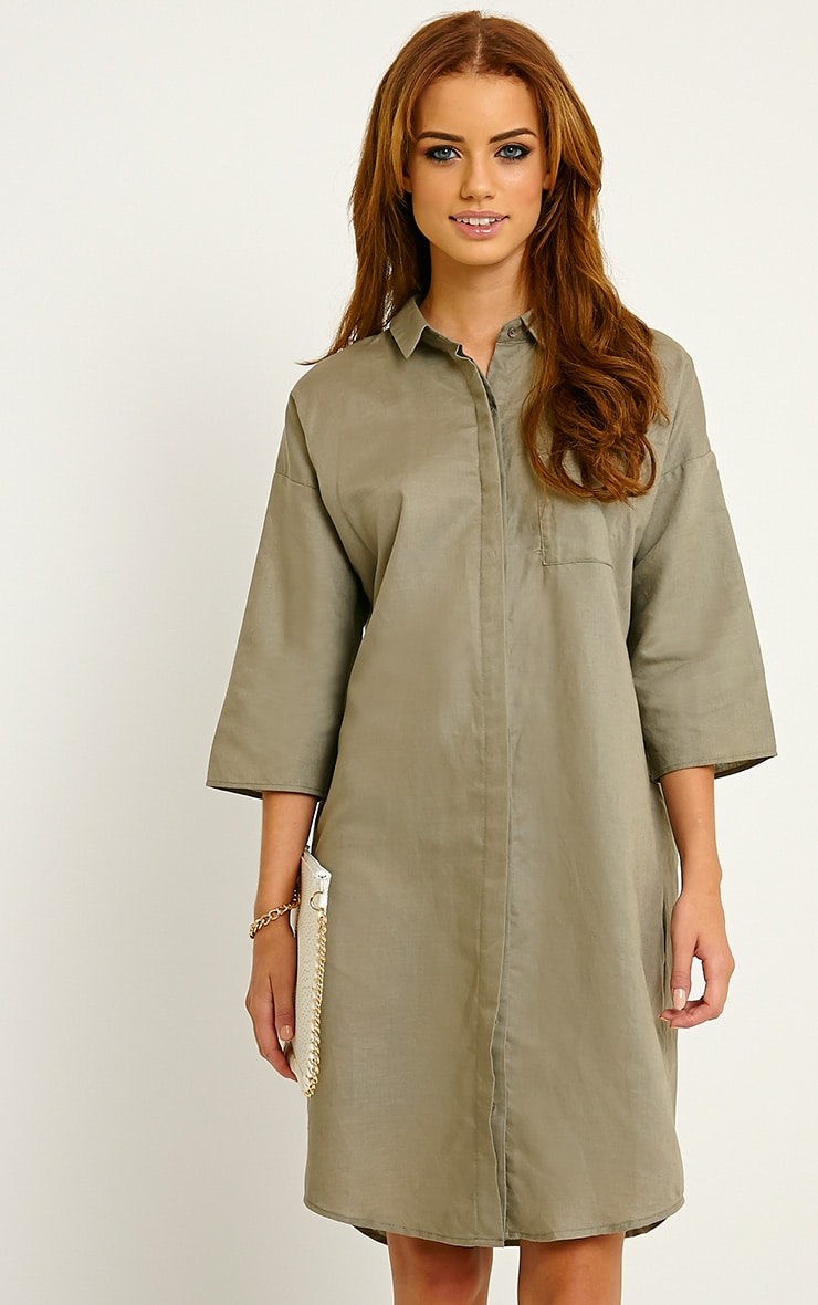 Franca Khaki Oversized Shirt Dress 1