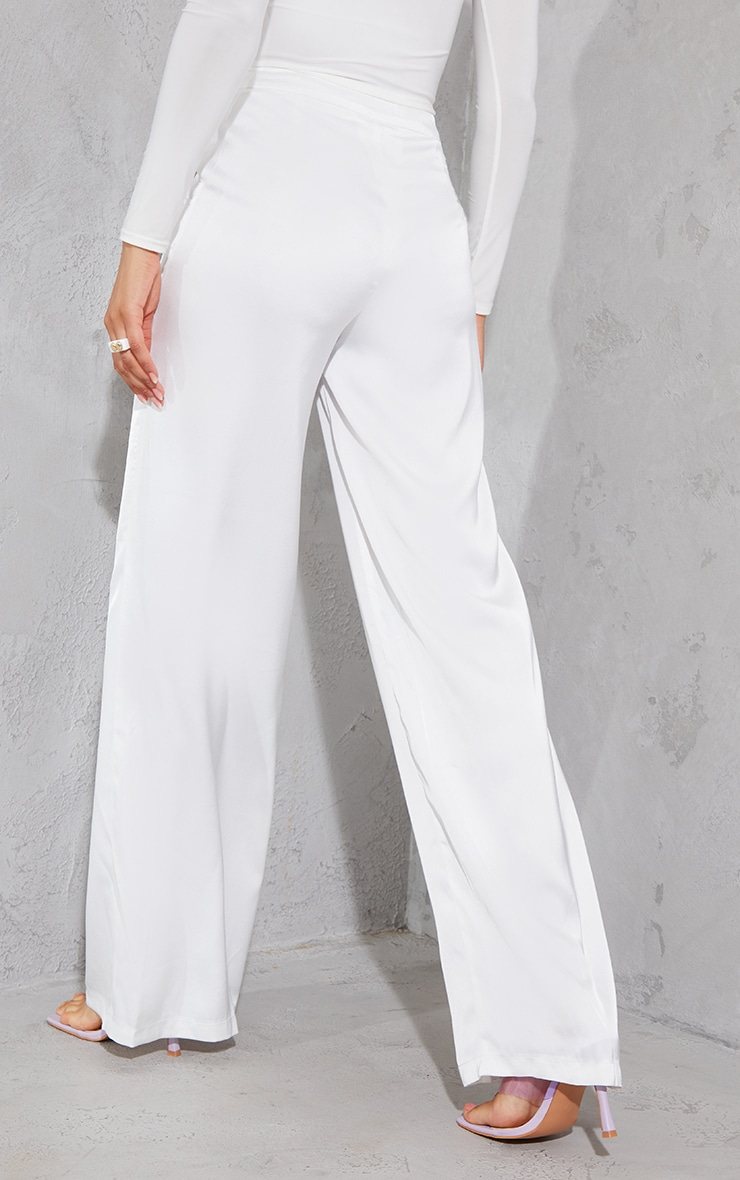 White Satin Pintuck Pocket Detail Wide Leg Pants 3