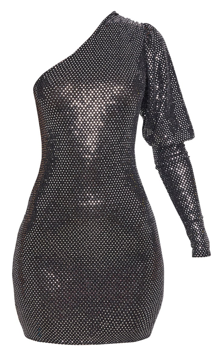 Silver Sequin Glitter One Shoulder Bodycon Dress 3
