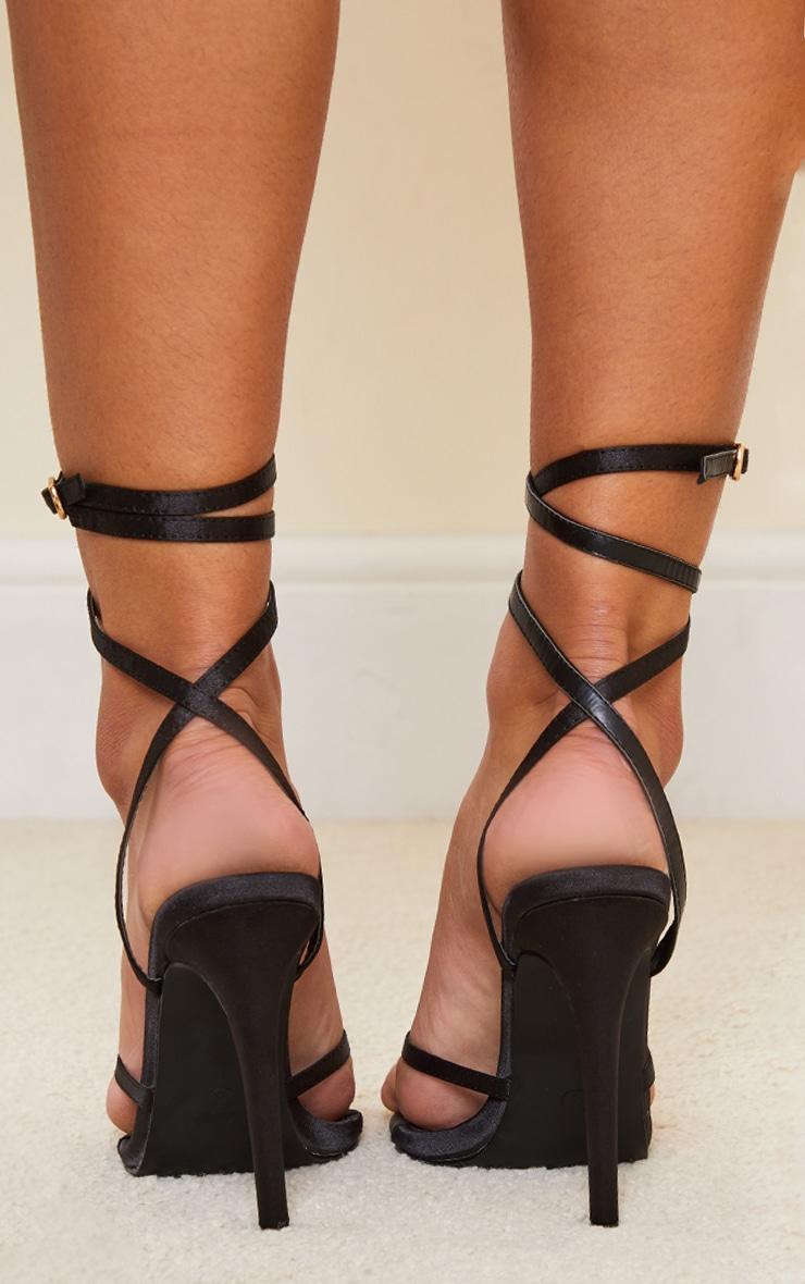 Black Satin Toe Thong Cross Over Strap High Heels 4