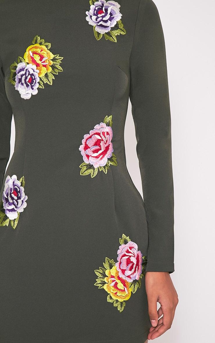 Marlia Khaki Floral Embroidered High Neck Bodycon Dress 6