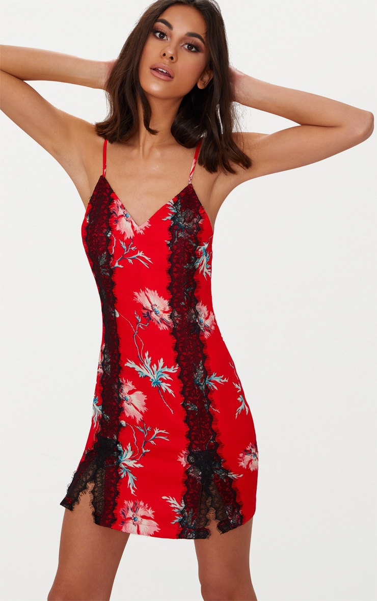 Red Strappy Floral Split Detail Lace Trim Slip Dress 4