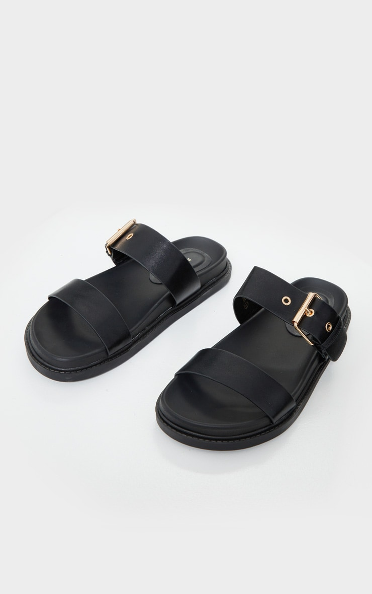 Black Double Strap Sliders 3