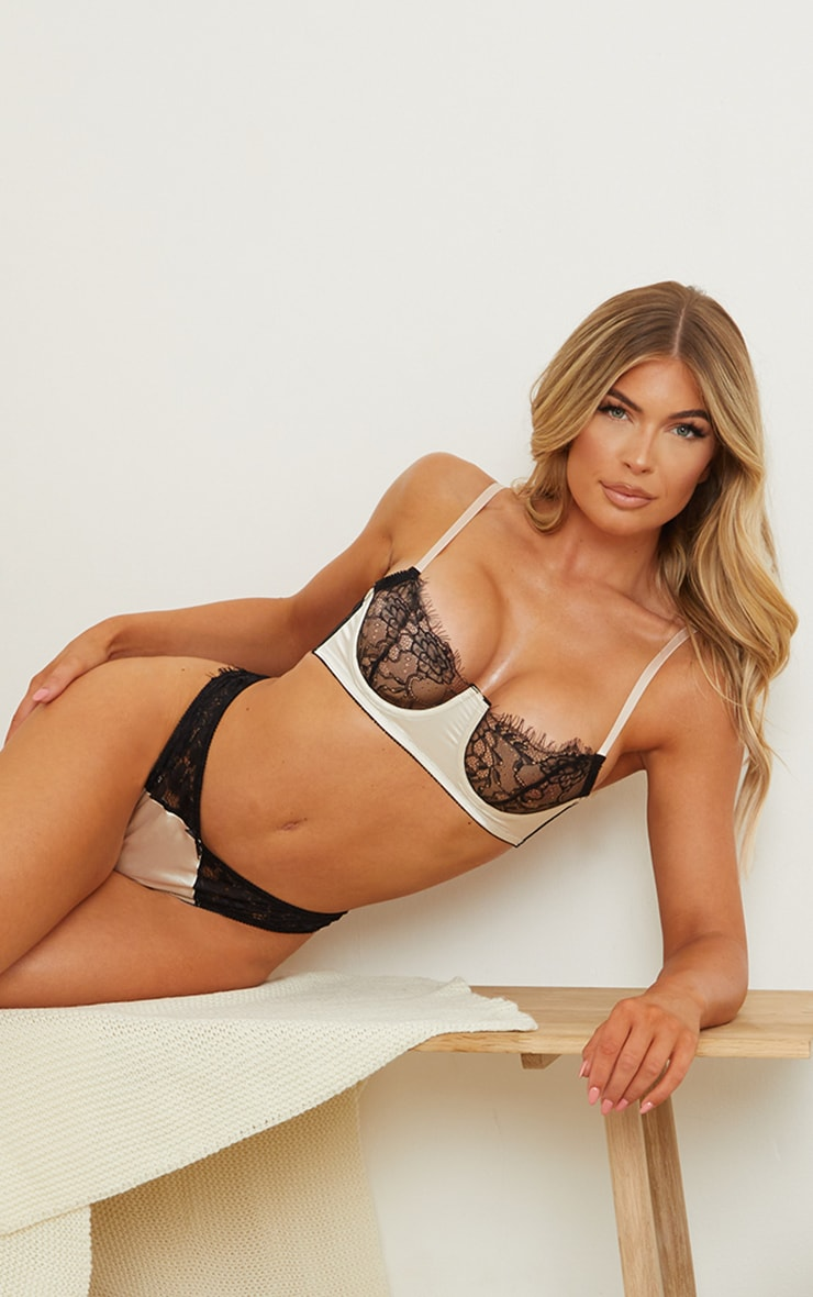 Champagne Satin And Lace Underwired Bra 1