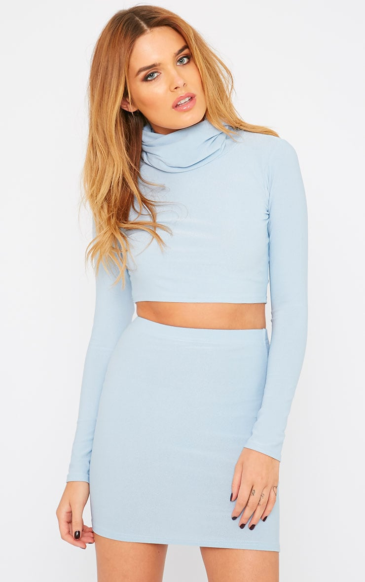 Emilia Powder Blue Crepe Roll Neck Crop Top  4