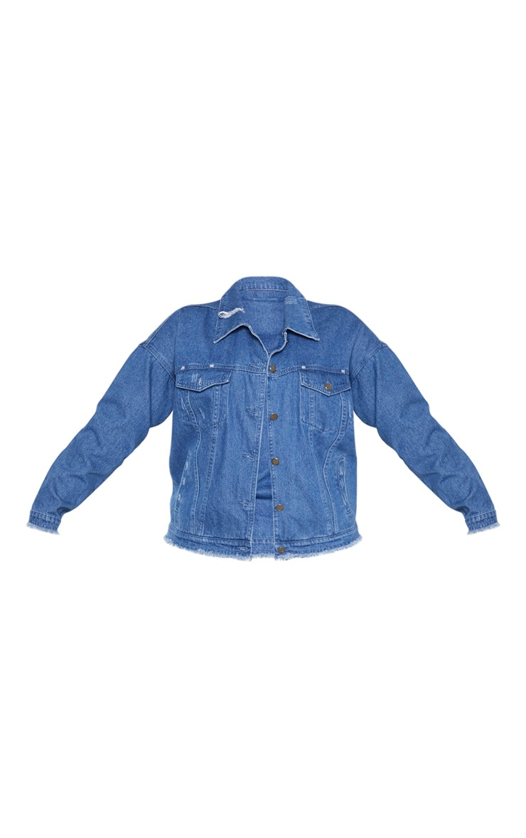 Plus Mid Wash Distressed Oversized Denim Jacket 3