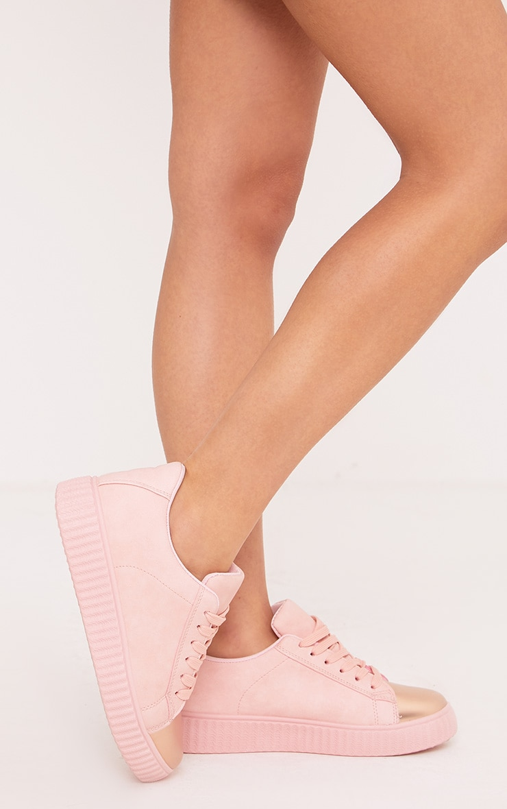 Amera Blush Faux Suede Trainers 5