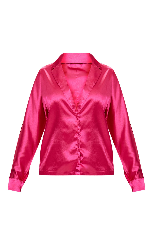 Hot Pink Satin Choker Button Front Shirt  3