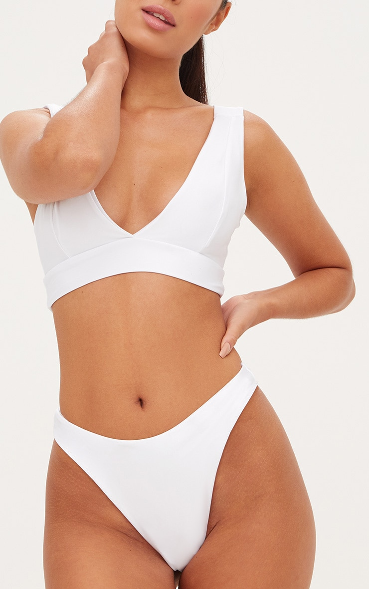 White Plunge High Rise Bikini Set 5