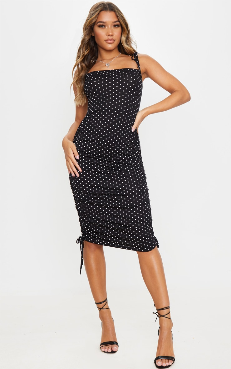 Black Heart Print Tie Strap Ruched Midi Dress 1