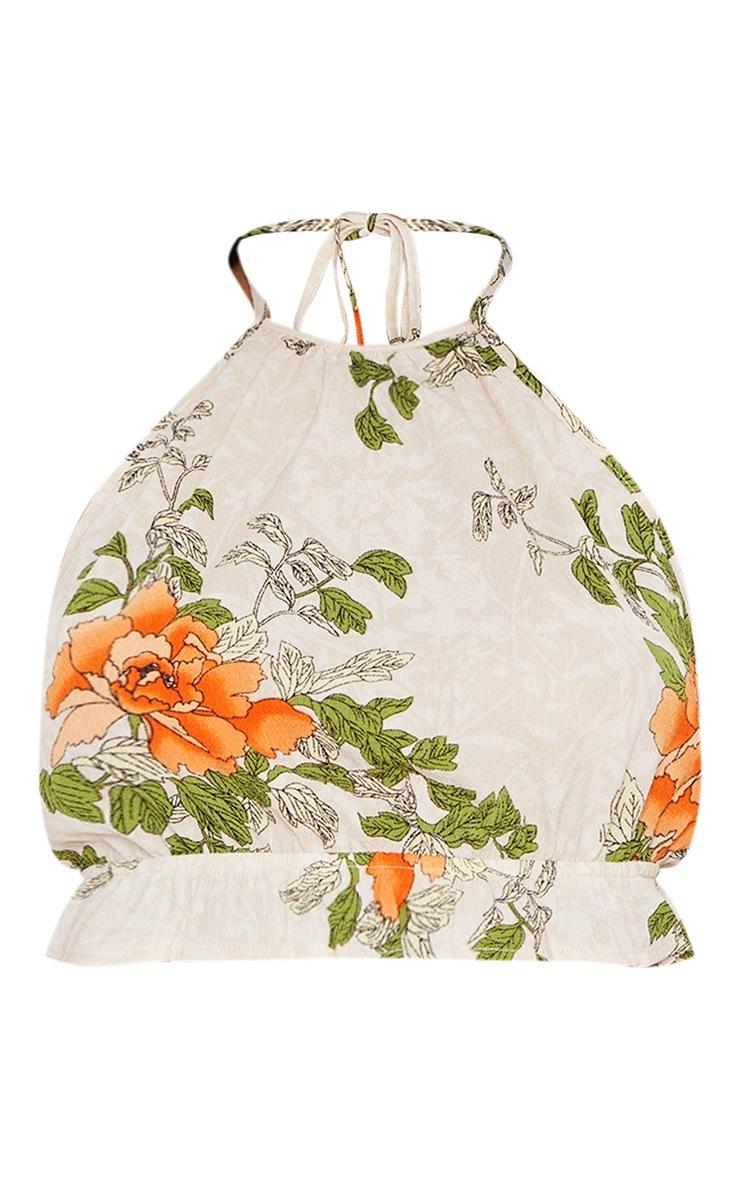 Cream Floral Printed Halter Neck Crop Top  3