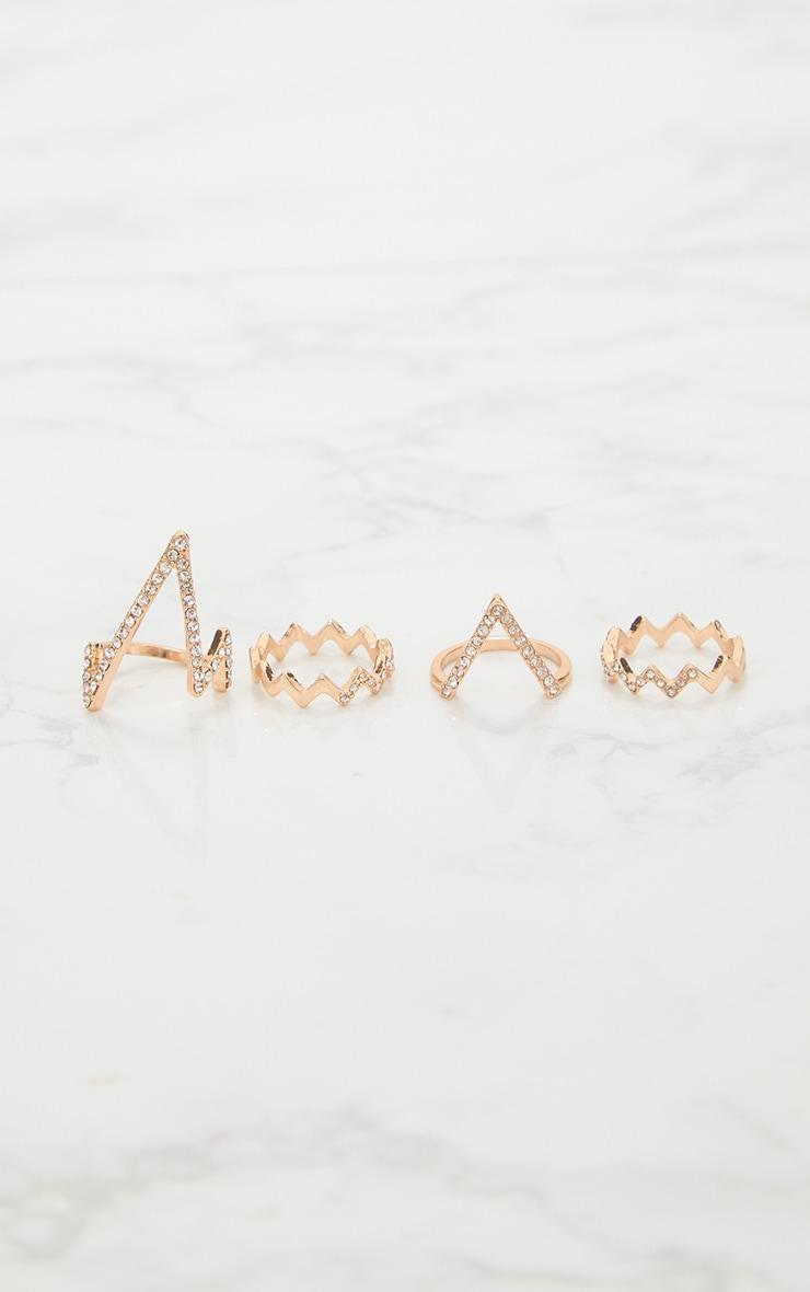 Gold Zig Zag Diamante Ring Pack 3