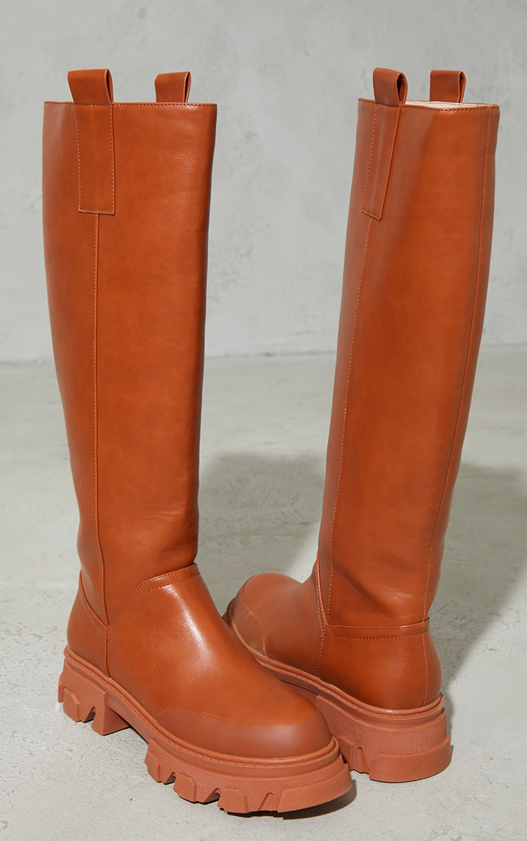 Toffee PU Round Toe Chunky Welly Knee Boots 3