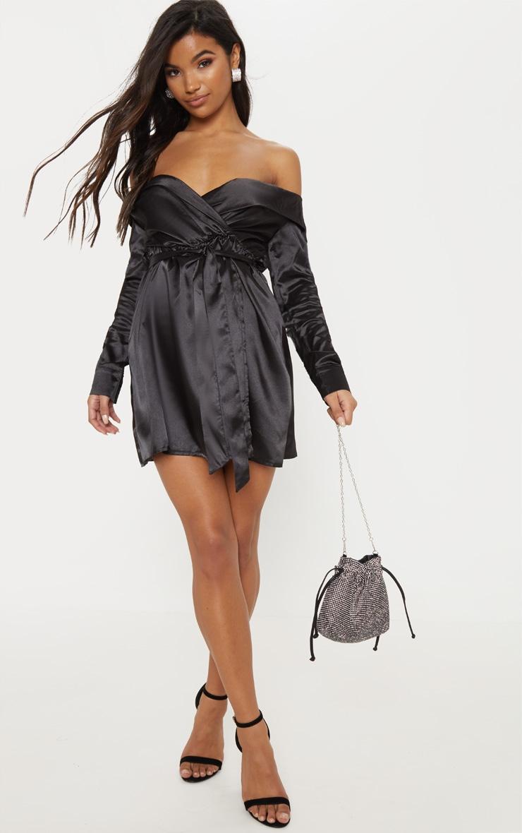 Black Satin Bardot Tie Waist Shift Dress 4