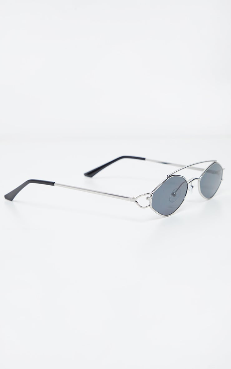 Black Lens Silver Frame Diamond Shape Retro Sunglasses 3