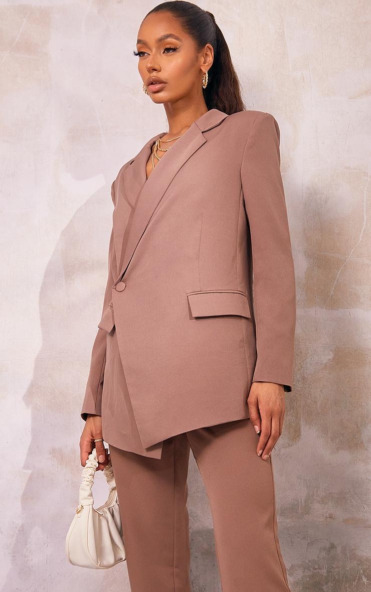 Mocha Oversized Asymmetric Button Detail Suit Blazer 1