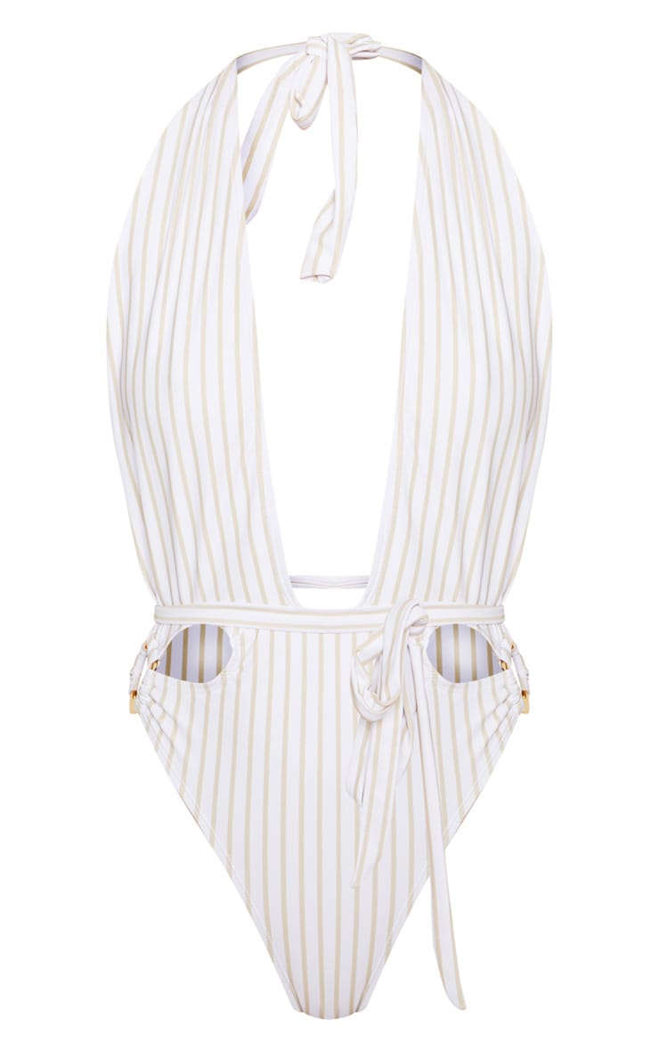 White Halterneck Striped Ring Belted Swimsuit 4