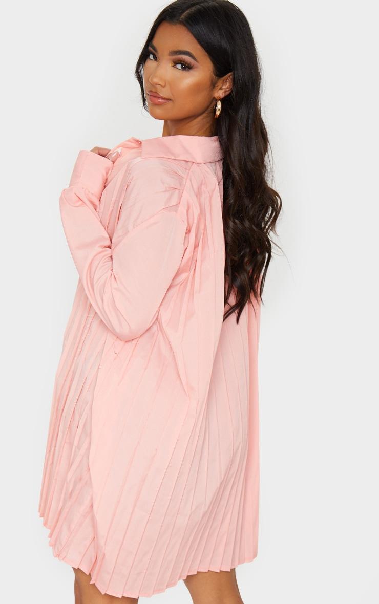 Peach Pleated Oversized Shirt Dress 2