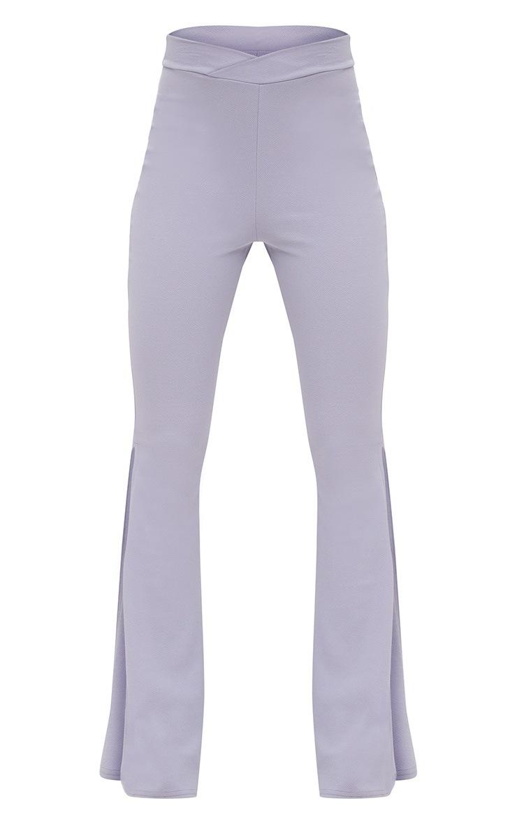 Lilac Grey Split Skinny Flared Trousers 3