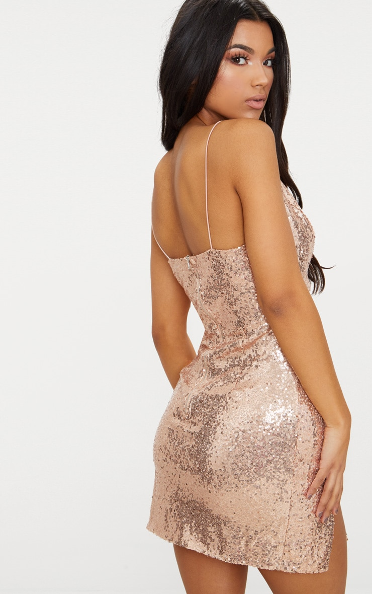 Rose Gold Strappy Plunge Extreme Split Sequin Bodycon Dress 2