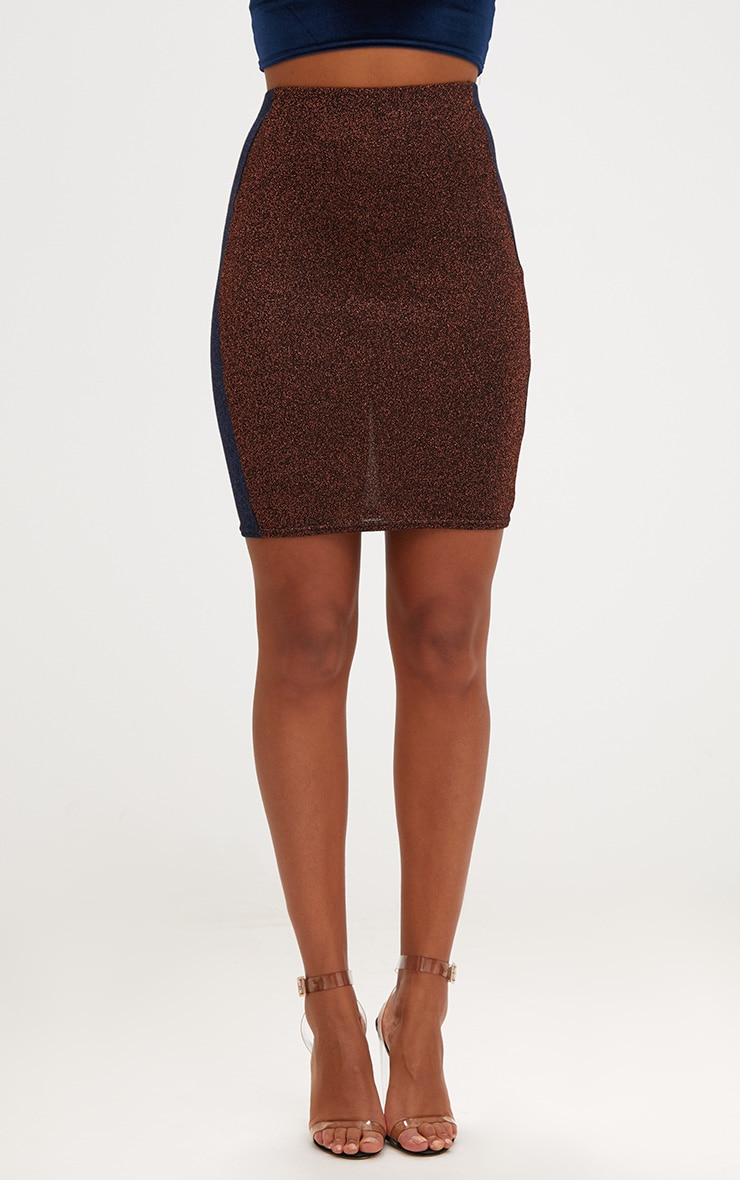 Copper Metallic Contrast Panel High Waisted Mini Skirt 2