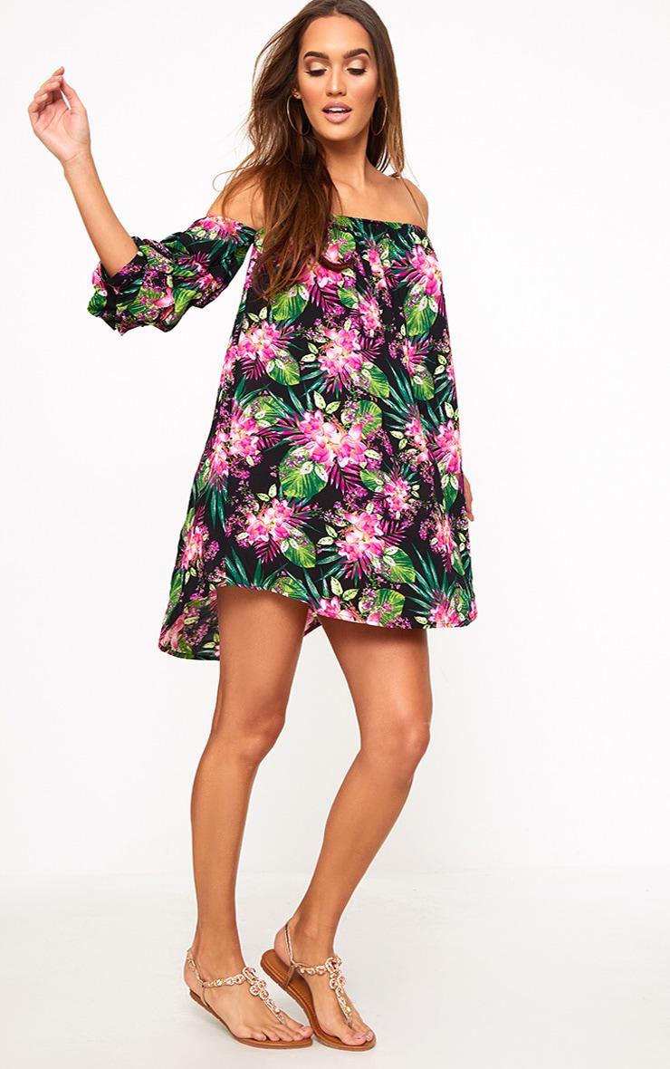 Black Floral Ruched Bardot Sleeve Shift Dress 4