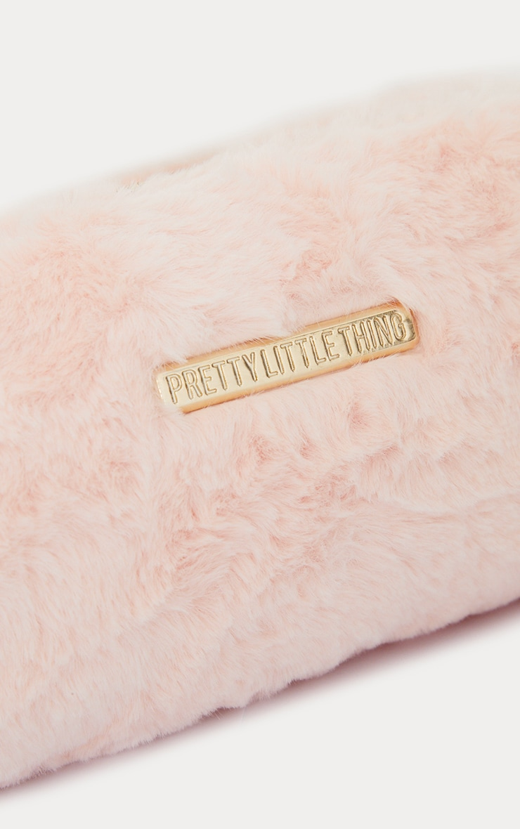 PRETTYLITTLETHING Baby Pink Faux Fur Makeup Bag 4