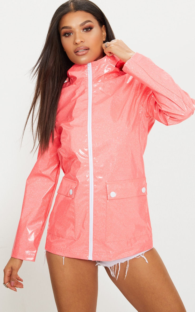 Pink Glitter Rain Mac  4