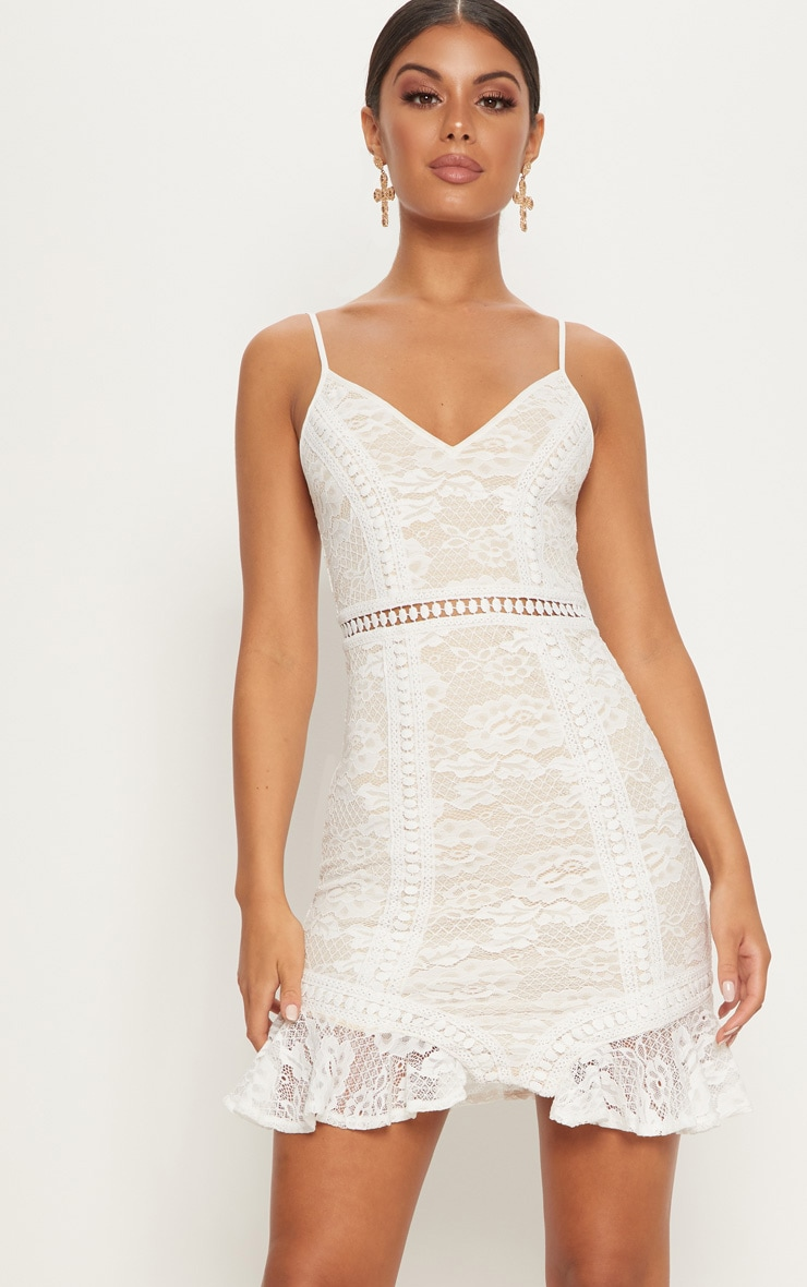 White Lace Frill Hem Plunge Bodycon Dress  1