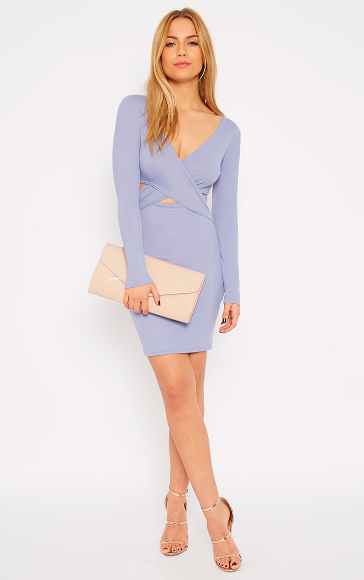 Hayley Powder Blue Crepe Cross Over Dress 3