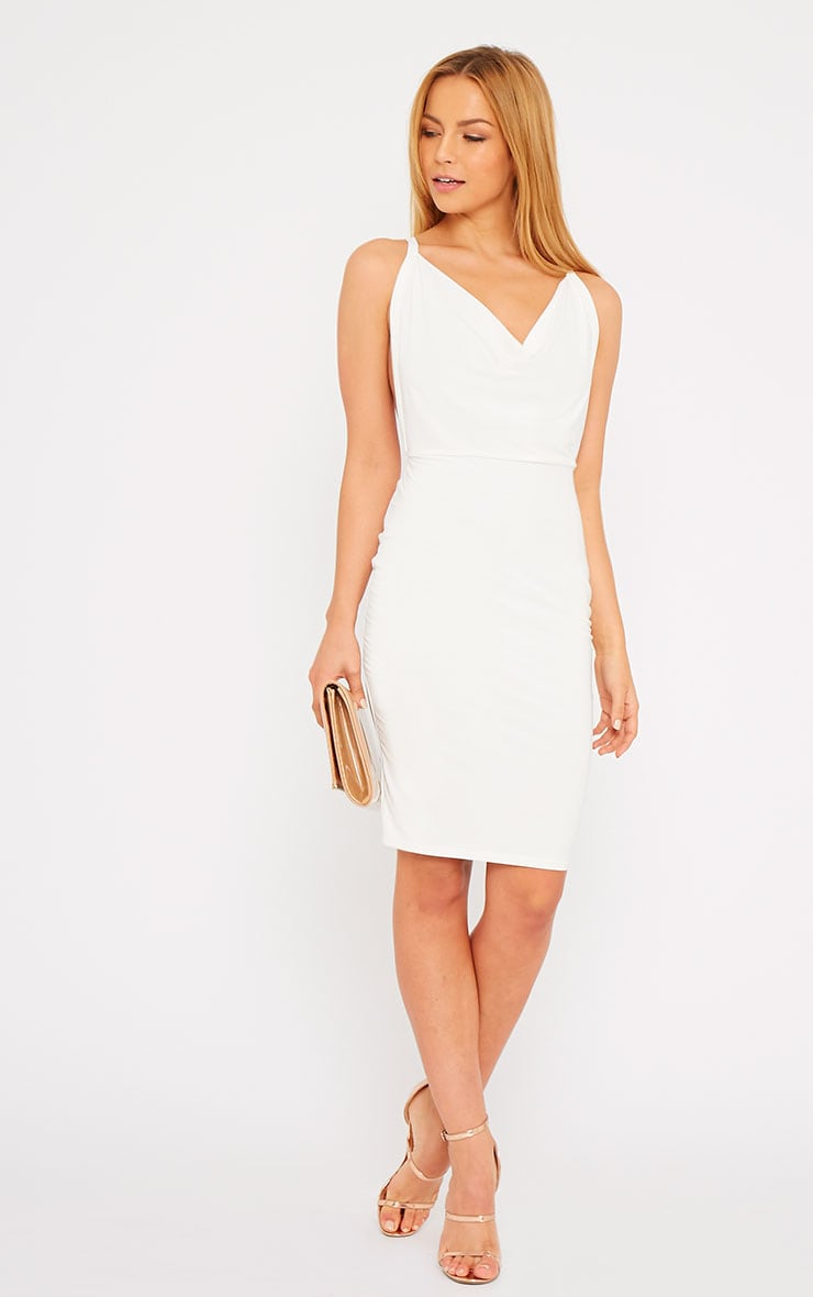Orion Cream Slinky Cowl Neck Dress 4
