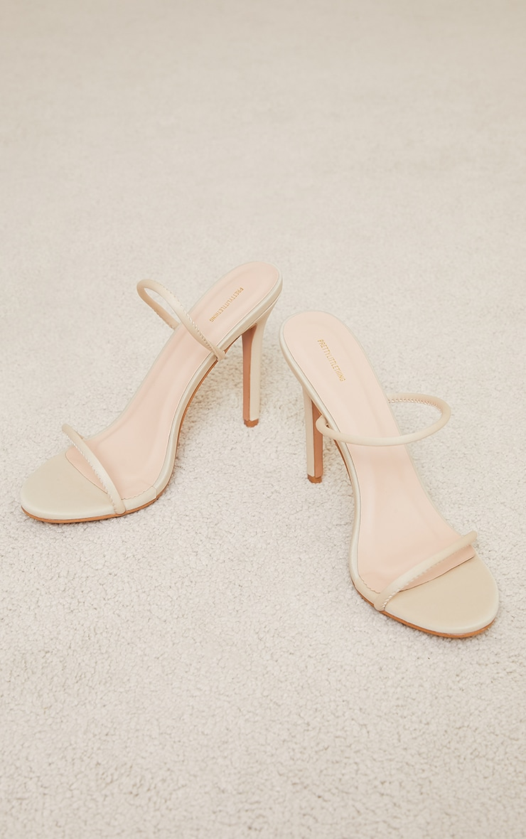 Nude Lycra Double Strap Round High Heeled Mules 3