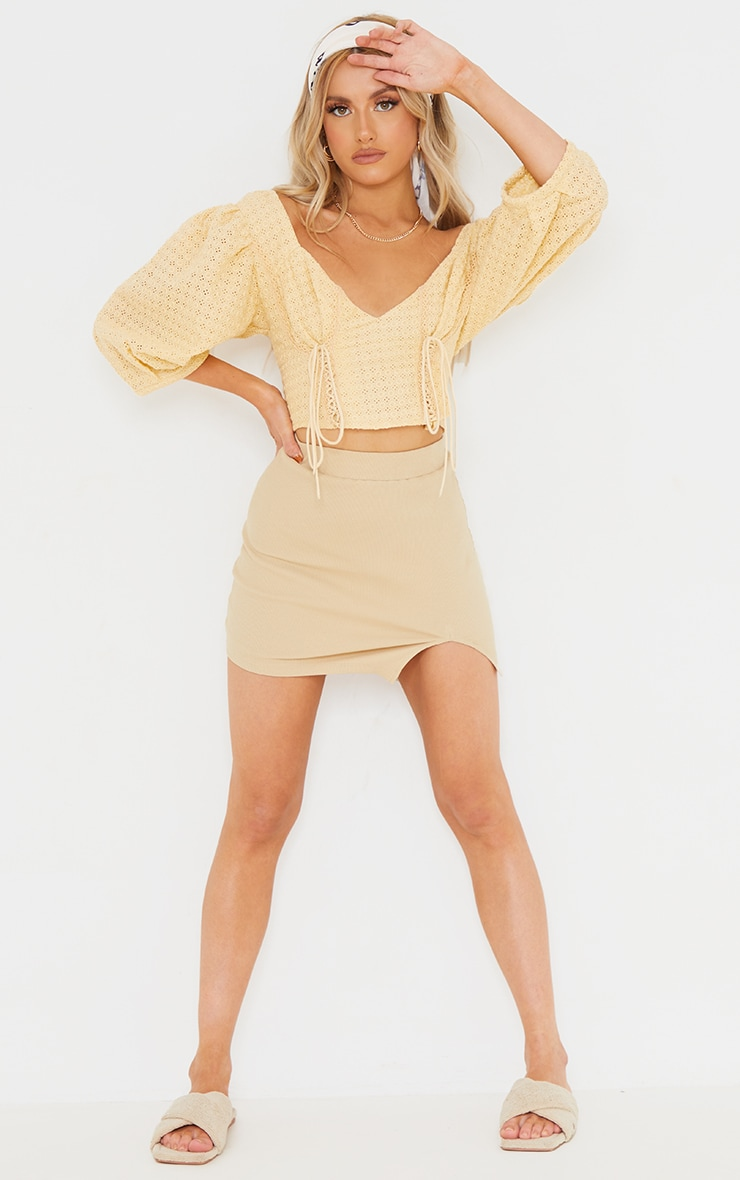 Lemon Broderie Puff Sleeve Double Lace Up Crop Top 3