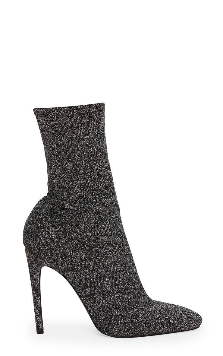 Black Glitter Sock Pointy Boots 3