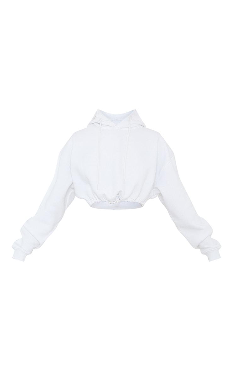White Tie Elasticated Hem Cropped Hoodie 5