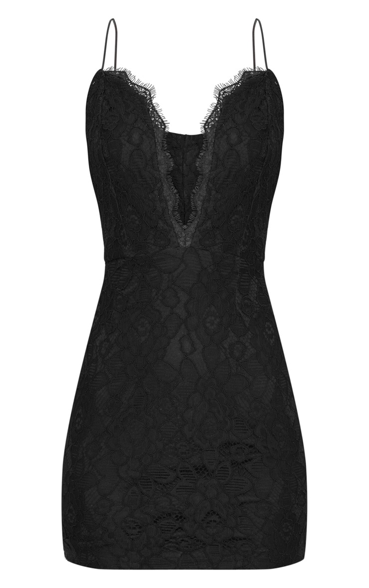 Black  Strappy Plunge Lace Bodycon Dress 3