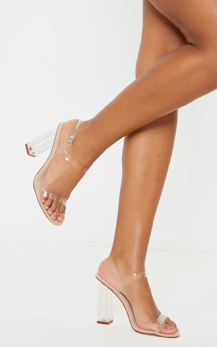 Clear Block Heel Strappy Sandal 2