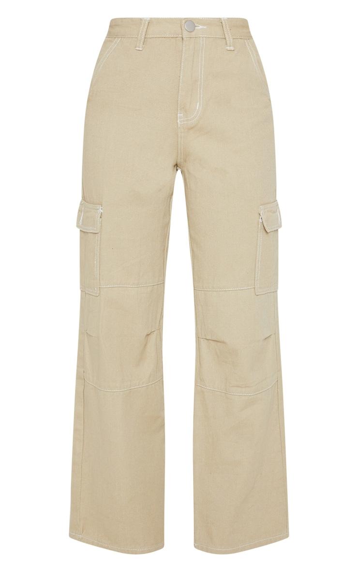 Beige Contrast Stitch Wide Leg Cargo Jeans 3