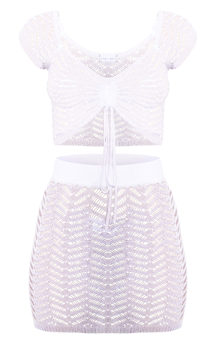 White Metallic Chevron Knitted Ruched Front Skirt Set 5