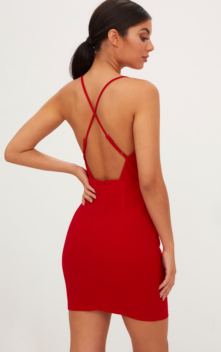 Red Tassel Detail Strappy Bodycon Dress 2