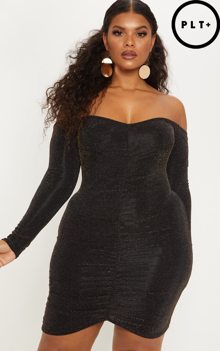 Plus Gold Glitter Textured Glitter Ruched Bardot Bodycon Dress