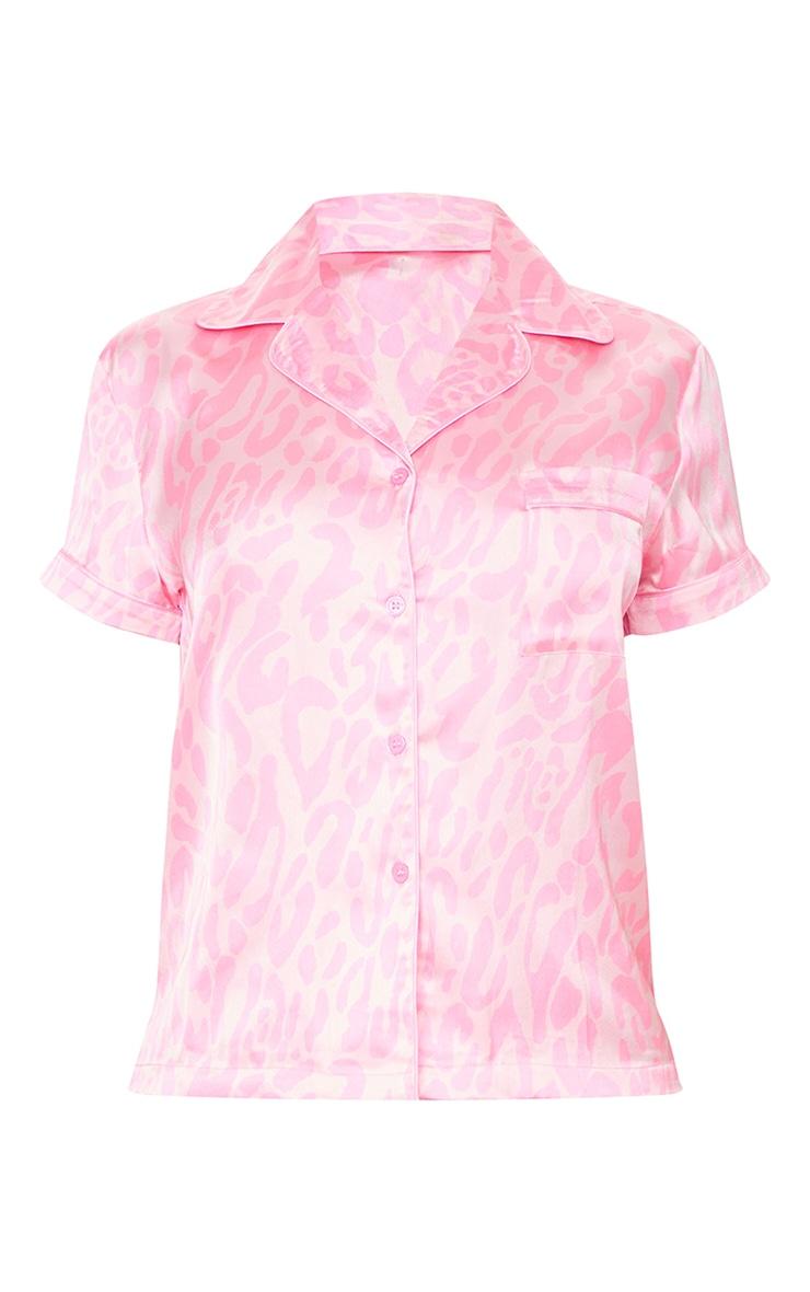 Bright Pink Leopard Print Short Satin PJ Set 5
