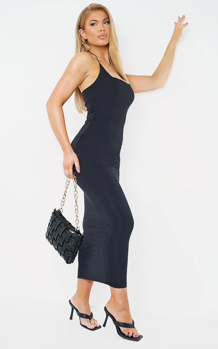 Black Slinky Halterneck Strap Midaxi Dress 3