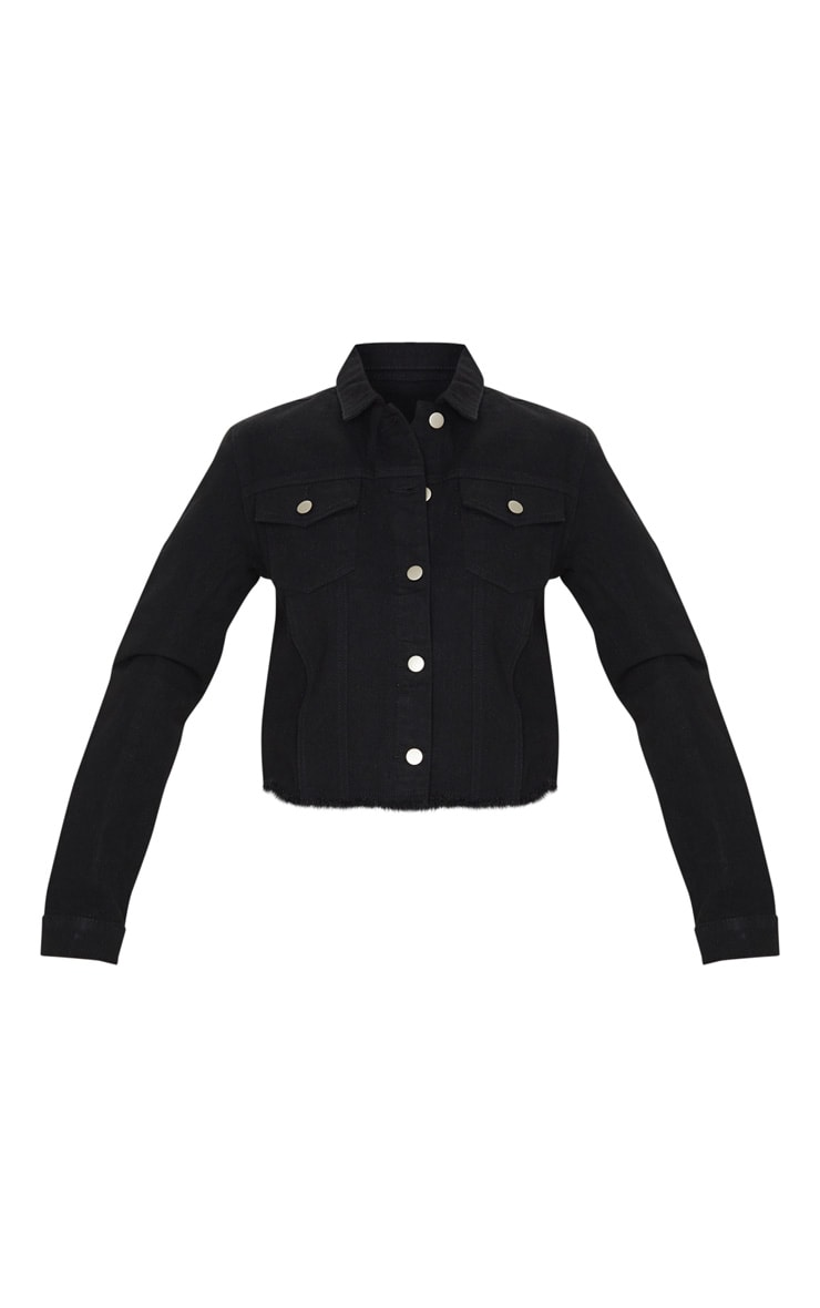 Black Basic Raw Hem Cropped Denim Jacket 3
