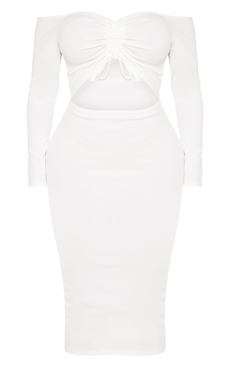 Shape White Cut Out Ruched Front Midi Dress 3