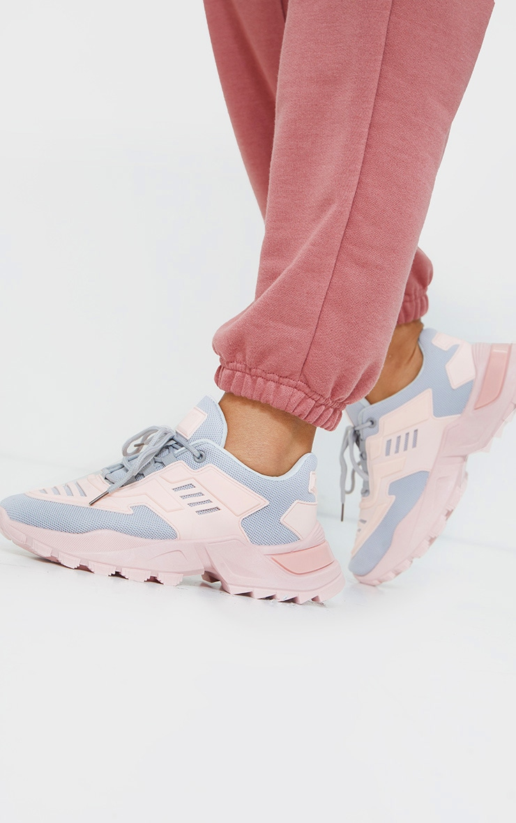 Pink Sports Panel Upper Cleated Chunky Trainers 1