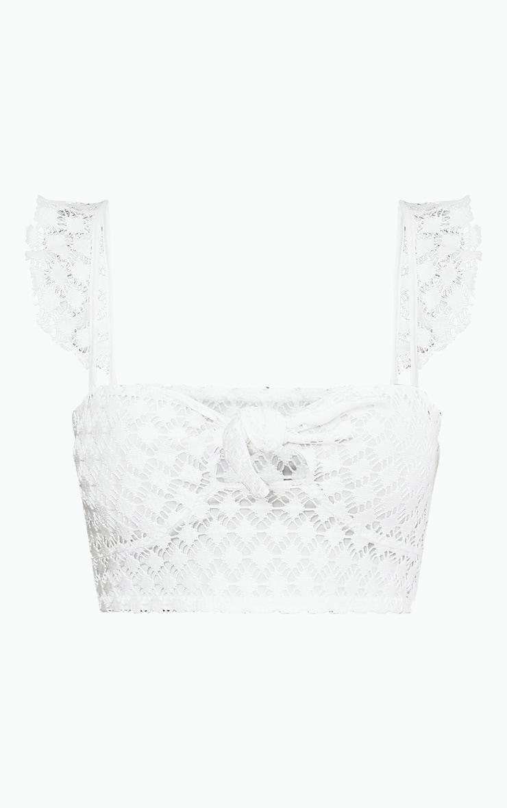 White Broderie Crochet Knot Front Bralet  3